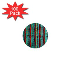 Bluegreen Background Red And Orange Seamless Design Created By Flipstylez Designs 1  Mini Buttons (100 Pack)