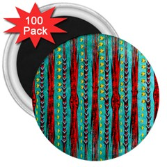 Bluegreen Background Red And Orange Seamless Design Created By Flipstylez Designs 3  Magnets (100 Pack)
