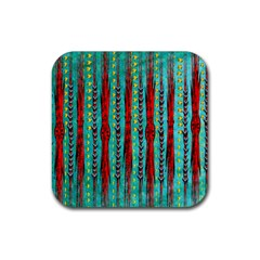 Bluegreen Background Red And Orange Seamless Design Created By Flipstylez Designs Rubber Coaster (square)