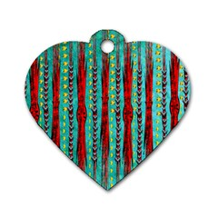 Bluegreen Background Red And Orange Seamless Design Created By Flipstylez Designs Dog Tag Heart (one Side)