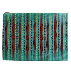 Bluegreen Background Red And Orange Seamless Design Created By Flipstylez Designs Cosmetic Bag (xxl)
