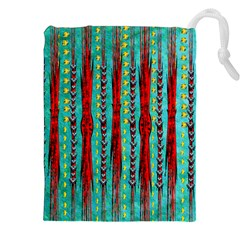 Bluegreen Background Red And Orange Seamless Design Created By Flipstylez Designs Drawstring Pouches (xxl)