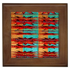 Exotic Blue Green Red And Orange Design Created By Flipstylez Designs Framed Tiles