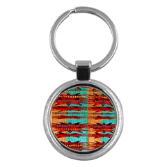 Exotic Blue Green Red And Orange Design Created By Flipstylez Designs Key Chains (round)