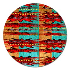 Exotic Blue Green Red And Orange Design Created By Flipstylez Designs Magnet 5  (round)