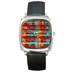 Exotic Blue Green Red And Orange Design Created By Flipstylez Designs Square Metal Watch by flipstylezdes