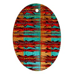 Exotic Blue Green Red And Orange Design Created By Flipstylez Designs Oval Ornament (two Sides)
