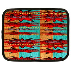 Exotic Blue Green Red And Orange Design Created By Flipstylez Designs Netbook Case (large)