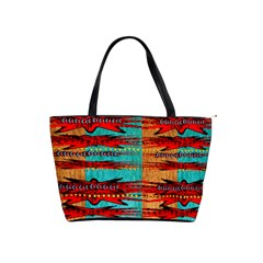 Exotic Blue Green Red And Orange Design Created By Flipstylez Designs Shoulder Handbags