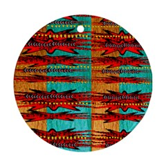 Exotic Blue Green Red And Orange Design Created By Flipstylez Designs Ornament (round)