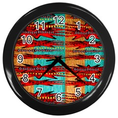 Exotic Blue Green Red And Orange Design Created By Flipstylez Designs Wall Clock (black)