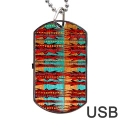 Exotic Blue Green Red And Orange Design Created By Flipstylez Designs Dog Tag Usb Flash (two Sides)