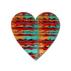Exotic Blue Green Red And Orange Design Created By Flipstylez Designs Heart Magnet by flipstylezdes