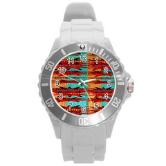 Exotic Blue Green Red And Orange Design Created By Flipstylez Designs Round Plastic Sport Watch (l)