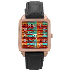Exotic Blue Green Red And Orange Design Created By Flipstylez Designs Rose Gold Leather Watch