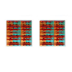 Exotic Blue Green Red And Orange Design Created By Flipstylez Designs Cufflinks (square)