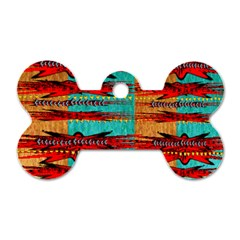 Exotic Blue Green Red And Orange Design Created By Flipstylez Designs Dog Tag Bone (two Sides)