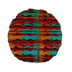 Exotic Blue Green Red And Orange Design Created By Flipstylez Designs Standard 15  Premium Flano Round Cushions by flipstylezdes