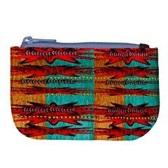 Exotic Blue Green Red And Orange Design Created By Flipstylez Designs Large Coin Purse