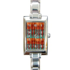 Stretched Exotic Blue Green Red And Orange Design Created By Flipstylez Designs Rectangle Italian Charm Watch