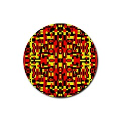 Red Black Yellow 1 Rubber Coaster (round)
