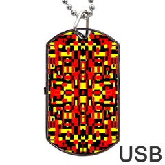Red Black Yellow 1 Dog Tag Usb Flash (two Sides)