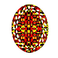 Red Black Yellow 1 Oval Filigree Ornament (two Sides)