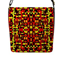 Red Black Yellow 1 Flap Messenger Bag (l)  by ArtworkByPatrick1