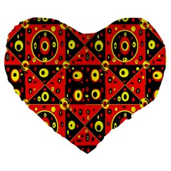Red Black Yellow 2 Large 19  Premium Flano Heart Shape Cushions