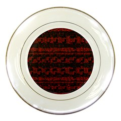 Burgundy Design With Black Zig Zag Pattern Created By Flipstylez Designs Porcelain Plates by flipstylezdes