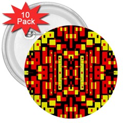 Red Black Yellow 4 3  Buttons (10 Pack)