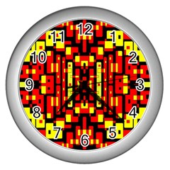 Red Black Yellow 4 Wall Clock (silver)