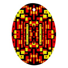 Red Black Yellow 4 Oval Ornament (two Sides)