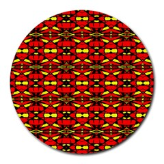 Red Black Yellow 6 Round Mousepads