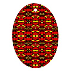 Red Black Yellow 6 Oval Ornament (two Sides)