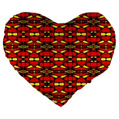Red Black Yellow 6 Large 19  Premium Heart Shape Cushions