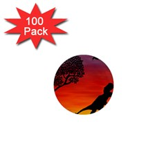 Sunset Dinosaur Scene 1  Mini Magnets (100 Pack)