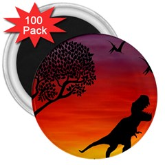Sunset Dinosaur Scene 3  Magnets (100 Pack) by IIPhotographyAndDesigns