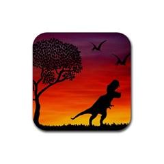 Sunset Dinosaur Scene Rubber Square Coaster (4 Pack)