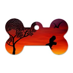 Sunset Dinosaur Scene Dog Tag Bone (two Sides)