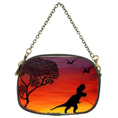 Sunset Dinosaur Scene Chain Purses (two Sides)