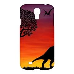 Sunset Dinosaur Scene Samsung Galaxy S4 I9500/i9505 Hardshell Case
