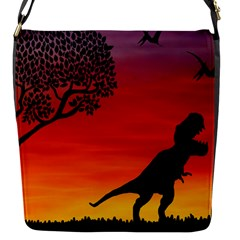 Sunset Dinosaur Scene Flap Messenger Bag (s)