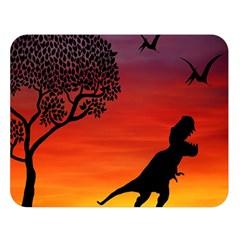 Sunset Dinosaur Scene Double Sided Flano Blanket (large)