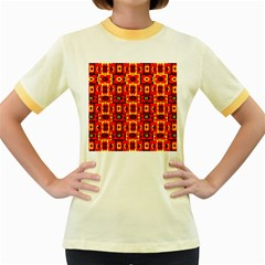 Red Black Yellow 7 Women s Fitted Ringer T Shirts
