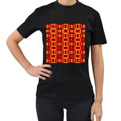 Red Black Yellow 7 Women s T Shirt (black) (two Sided)