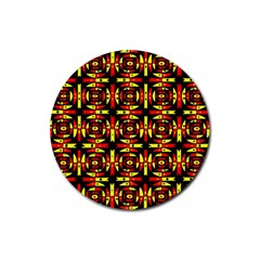 Red Black Yellow 9 Rubber Coaster (round)