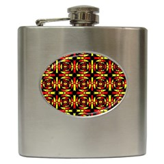 Red Black Yellow 9 Hip Flask (6 Oz)