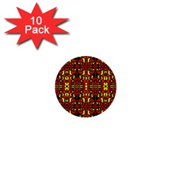 Red Black Yellow 8 1  Mini Buttons (10 Pack)