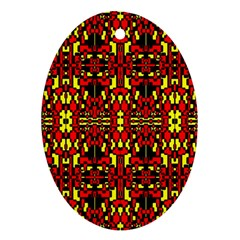 Red Black Yellow 8 Oval Ornament (two Sides)